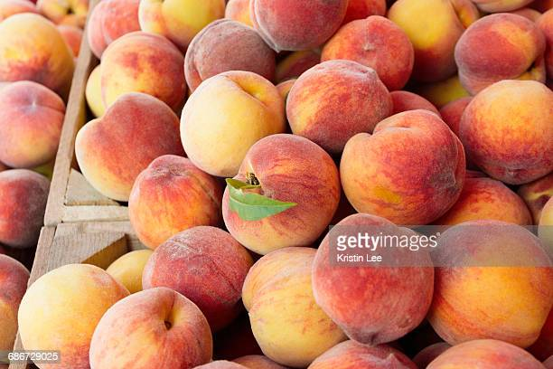 peaches in wooden crate - peach stock pictures, royalty-free photos & images