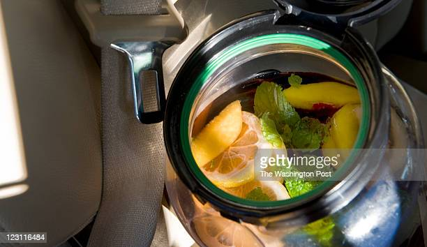 Peaches, lemon and mint as left to steep in the sun tea in the backseat during roadtrips. Ellen Kassoff Gray demonstrates how she eats on the...