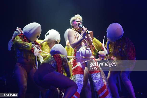 Peaches performs live on stage during her 'There's Only One Peach with the Hole in the Middle' show at The Royal Festival Hall on August 28 2019 in...