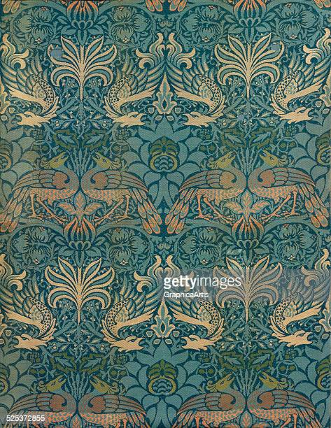 Peacock and dragon textile design by William Morris private collection circa 1880