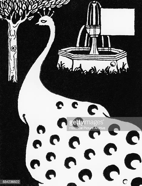 Peacock and Fountain from Le Morte d'Arthur by Aubrey Beardsley