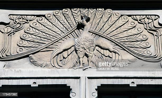 Peacock architectural frieze on an Art Nouveaustyle building Riga Latvia