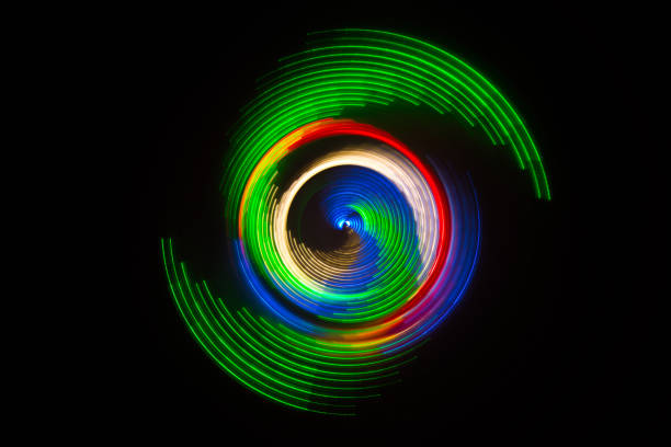 Peacock Colored Abstract Circular Light Painting