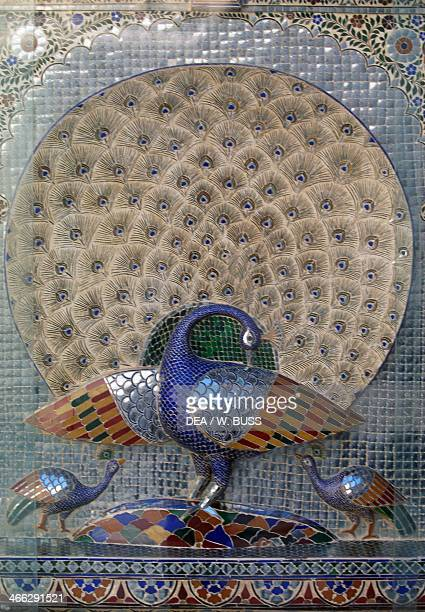Peacock decorative detail of the city palace Udaipur Rajasthan India