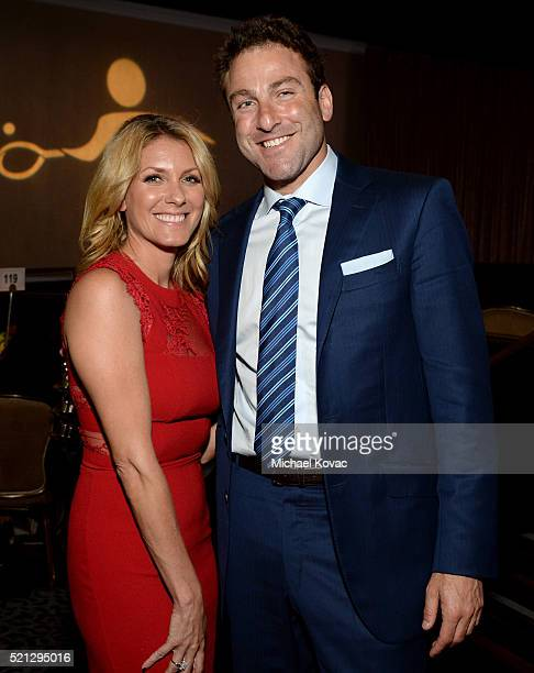 Peacock Productions' Melody Shafir and tennis player Justin Gimelstob attend the ADL Entertainment Industry Dinner at The Beverly Hilton Hotel on...