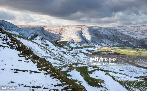 Peak District landscape in snowy weather