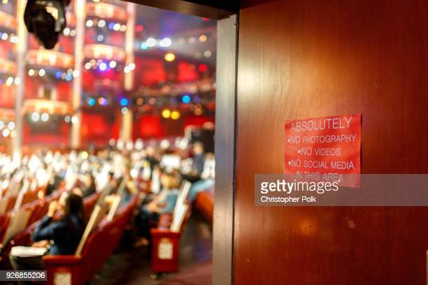 A peak inside the Dolby Theatre during rehersals for the 90th Oscars at The Dolby Theatre on March 3 2018 in Hollywood California