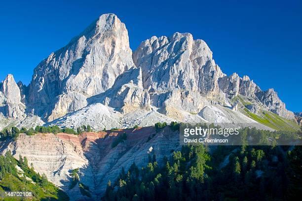 Peak of Sas de Putia from Passo delle Erbe, between Val di Funes (Villnosstal) and Val Badia, Dolomites.