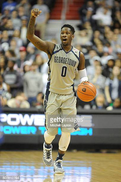 J Peak of the Georgetown Hoyas dribbles up court during a college basketball game against the Creighton Bluejays at the Verizon Center on January 26...