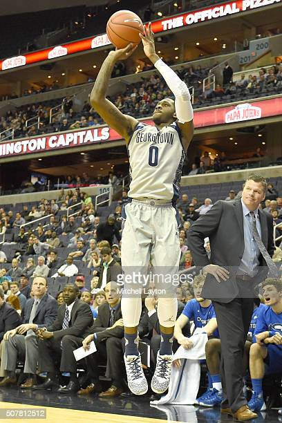 J Peak of the Georgetown Hoyas takes a jump shot during a college basketball game against the Creighton Bluejays at the Verizon Center on January 26...