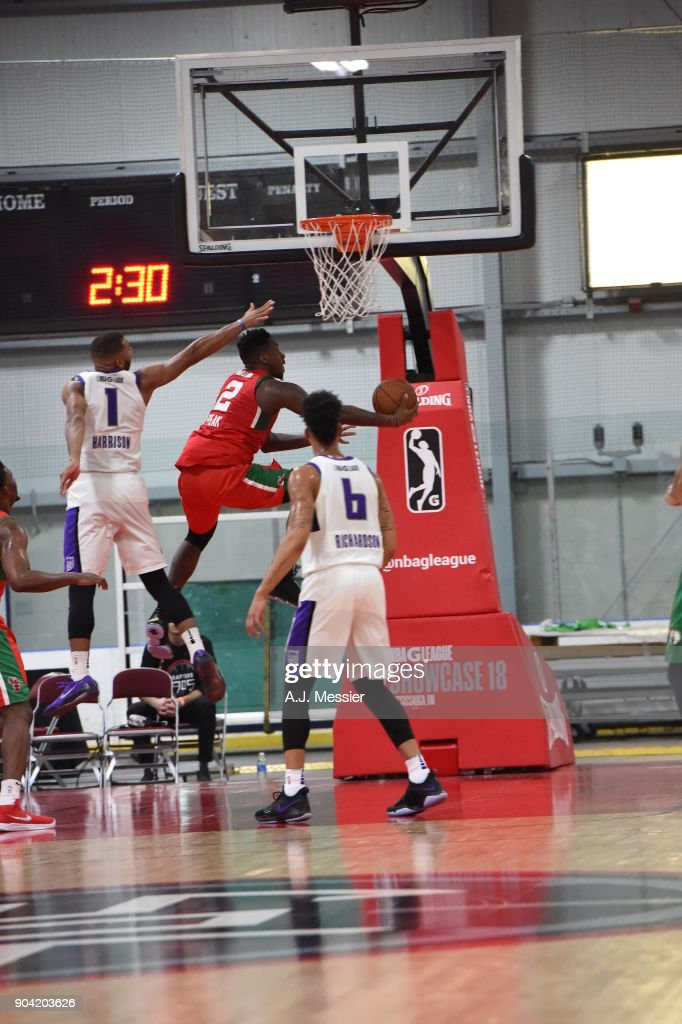 L.J. Peak #2 of the Maine Red Claws drives to the basket against the Reno Bighorns during the G-League Showcase on January 11, 2018 at the Hershey Centre in Mississauga, Ontario Canada.
