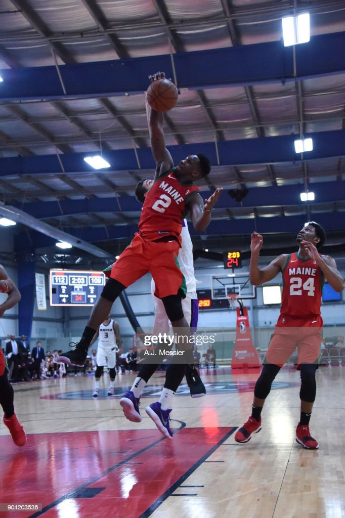 L.J. Peak #2 of the Maine Red Claws grabs the rebound against the Reno Bighorns during the G-League Showcase on January 11, 2018 at the Hershey Centre in Mississauga, Ontario Canada.