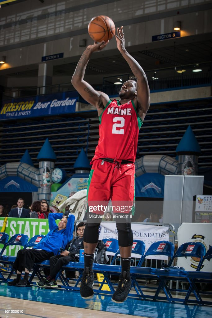 L.J. Peak #2 of the Maine Red Claws shoots the ball against the Delaware 87ers during a G-League game on March 13, 2018 at the Bob Carpenter Center in Newark, Delaware.