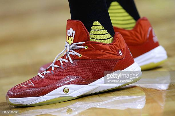 Peak shoes are seen worn by Dwight Howard of the Atlanta Hawks during the first half of a game against the New Orleans Pelicans at the Smoothie King...