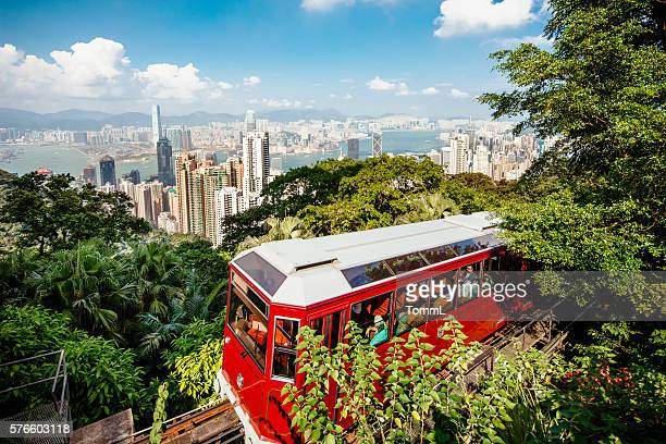 peak tram hong kong - tram stock photos and pictures