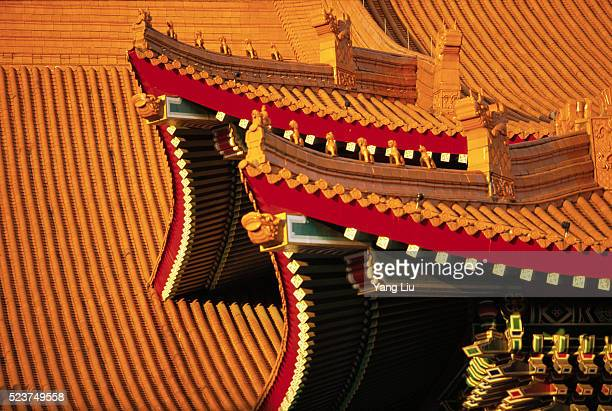 peaked roof with yellow tiles, forbidden city - eaves stock photos and pictures