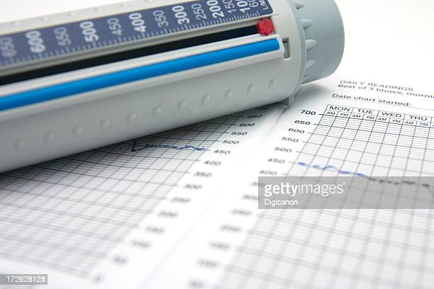 peakflow meter and chart - chronic obstructive pulmonary disease stock photos and pictures