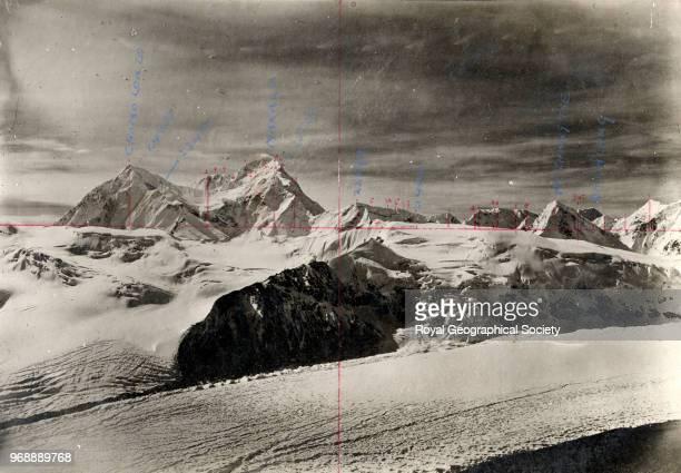 [Peaks including Chomo Lonzo Makalu Pethang Tse and Chamlang] China May 1921 Mount Everest Expedition 1921