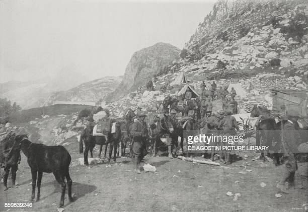 Peaks painstakingly conquered by the Alpini troops in Upper Carnia from the left Zellonkofel Pal Piccolo and Freikofel Italy World War I photo by...