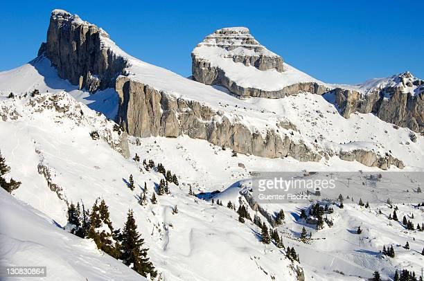 peaks tour d'ai and tour de mayen, leysin, vaud, switzerland - leysin stock photos and pictures