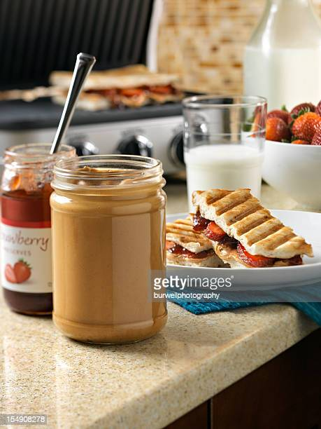 peanut butter and jam panini sandwich - peanut butter and jelly sandwich stock pictures, royalty-free photos & images