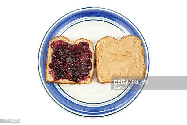 peanut butter and jelly on plate - jam stock pictures, royalty-free photos & images