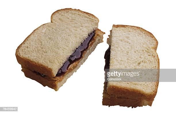 Peanut butter and jelly sandwich cut in half
