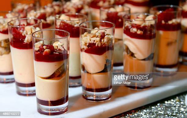 Peanut butter and jelly tiramisu desserts are served at the Giada booth at Vegas Uncork'd by Bon Appetit's Grand Tasting event at Caesars Palace on...