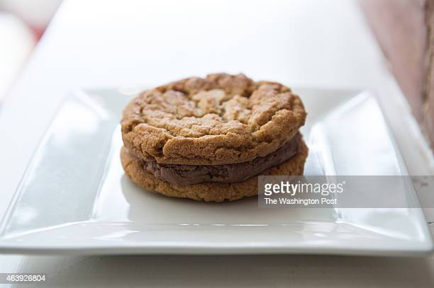 Peanut butter and Nutella cookie sandwich is shown at Jimmy Hopper's ThreeFifty Bakery and Coffee Bar on February 7 2015 in Washington DC ThreeFifty...