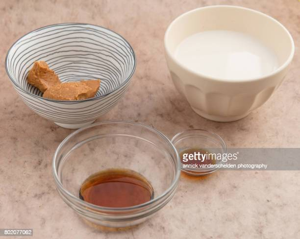 Peanut butter, maple syrup, vanilla aroma and almond milk.