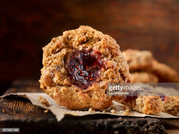 Peanut Butter, Oatmeal Thumbprint Breakfast Cookies with Raspberry Jam