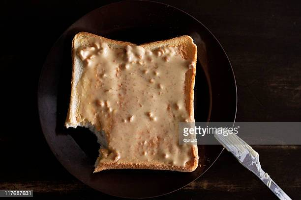 peanut butter toast - plastic plate stock pictures, royalty-free photos & images
