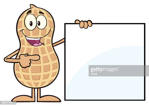 Peanut Cartoon Character Showing A Blank Sign