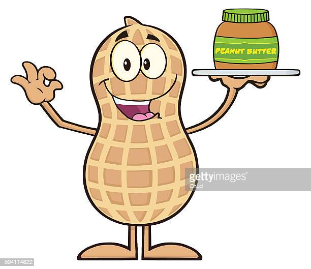 Peanut Character Holding A Jar Of Peanut Butter