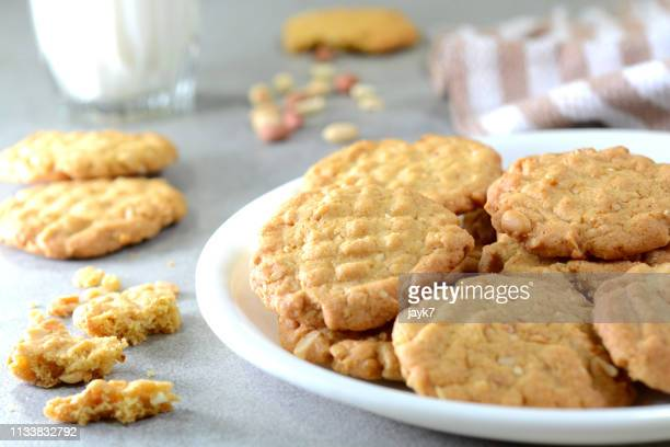 peanut cookies - peanut food stock pictures, royalty-free photos & images