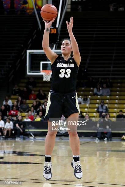 Peanut Tuitele of the Colorado Buffaloes shoots and makes a three point basket during the fourth quarter of a game between the Stanford Cardinal and...