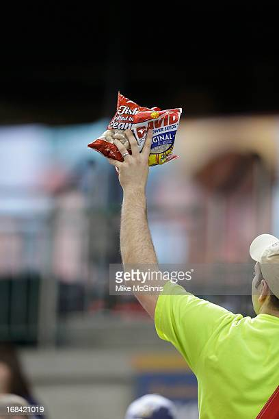 Peanut vender sells items during the game between the Milwaukee Brewers and the St Louis Cardinals at Miller Park on May 04 2013 in Milwaukee...