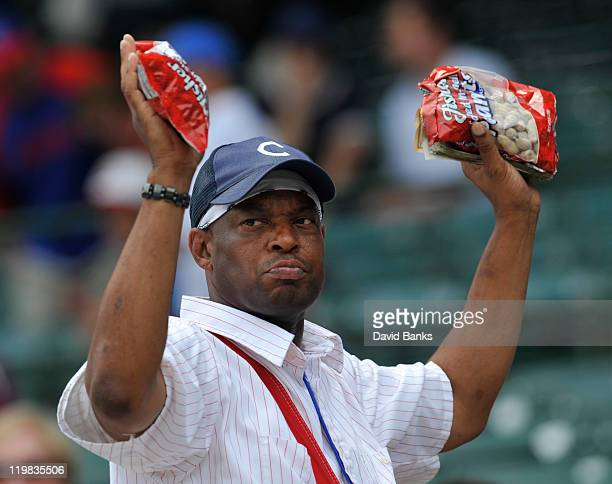 A peanut vendor sells peanuts during the Cubs Astros game on July 23 2011 at Wrigley Field in Chicago Illinois