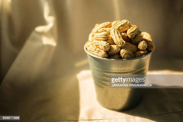 Peanuts in the bucket with natural light.