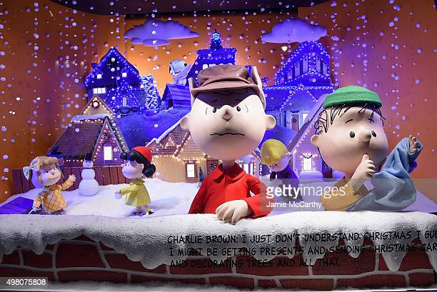 Peanuts inspired Christmas window at the Macy's Presents 'It's The Great Window Unveiling Charlie Brown' at Macy's Herald Square on November 20 2015...