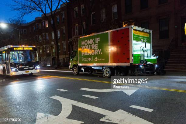 A Peapod delivery truck sits parked at sunrise during a delivery in the Brooklyn borough of New York US on Monday Dec 10 2018 With almost 9 million...