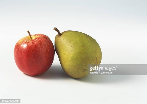 Pear and red apple