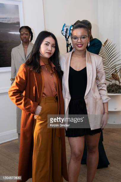 Pear Chimma and Fashion designer Shanna Bent at the Maison Bent AW20 Presentation at Pushkin House on February 06 2020 in London England
