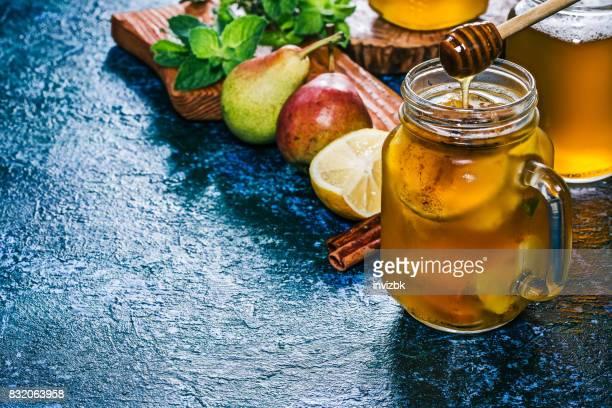 Pear cider sangria over blue