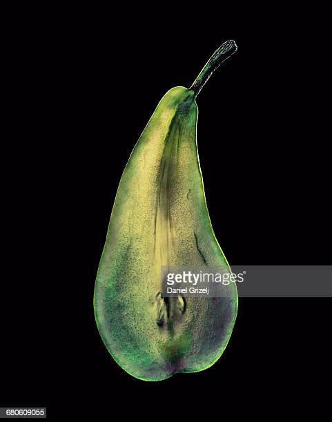 Pear cut into a thin slice
