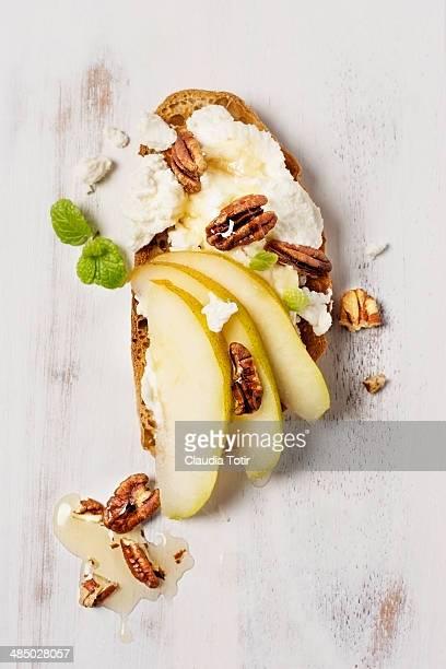 Pear, Wallnut and Ricotta Crostini