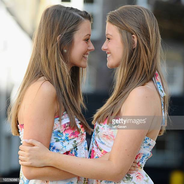 Pearl and Ruby Day pose after winning the Duo Wispa British Identical Twins competition at Pineapple Studios on June 21 2010 in London England