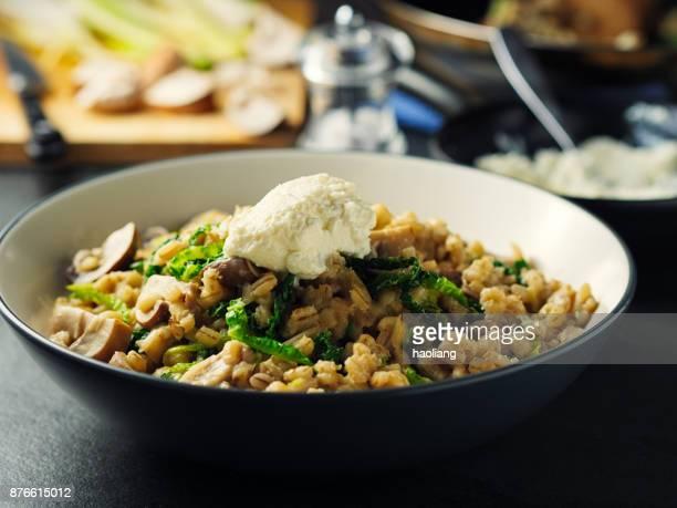 Pearl barley chestnut mushroom risotto