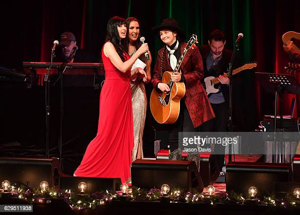 Pearl Barrett Serene Allison and Jeneve Rose Mitchell speak onstage during A Welby Street Christmas Hosted by Serene Pearl at Franklin Theater on...