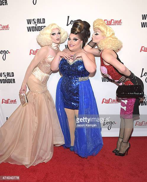 Pearl Ginger Minj and Violet Chachki attend RuPaul's Drag Race Season 7 Finale Courtesy Logo / WOW at the Orpheum Theatre on May 19 2015 in Los...